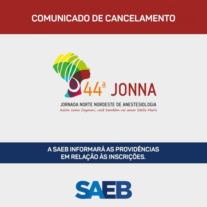 COMUNICADO DE CANCELAMENTO DA JONNA 2020